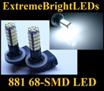 68-SMD Xenon White HID 881 LED Fog Light Bulbs Daytime Running Light Bulbs