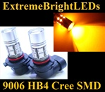 TWO Orange AMBER 9006 9012 HB4 Cree + 12-SMD LED Fog Daytime Running Light Bulbs