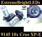 TWO Xenon HID WHITE 50W High Power 9145 H10 9140 9005 10x Cree XP-E LED Fog DRL Light bulbs