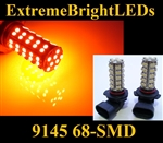 TWO Orange AMBER 9145 9140 H10 9005 68-SMD LED Fog Light Daytime Running Light Bulbs