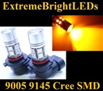 TWO Orange AMBER 9145 H10 9140 9005 Cree + 12-SMD LED Fog Daytime Running Light Bulbs
