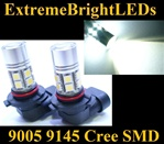 TWO Xenon HID WHITE 9145 H10 9140 9005 Cree + 12-SMD LED Fog Daytime Running Light Bulbs