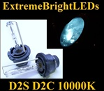 TWO 10000K Light BLUE D2S D2R D2C HID bulbs for factory HID equipped cars