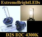 TWO 4300K D2S D2R D2C Xenon HID Light bulbs for factory HID equipped cars