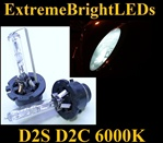 TWO 6000K Pure WHITE D2S D2R D2C HID bulbs w/ metal Claw for factory HID equipped cars