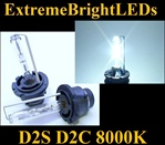 TWO 8000K WHITE with BLUE tint D2S D2R D2C HID bulbs for factory HID equipped cars