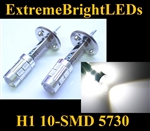 TWO Xenon HID WHITE H1 10-SMD 5730 LED Driving or Fog Lights bulbs