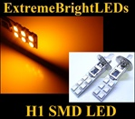 TWO Orange AMBER H1 12-SMD LED Driving or Fog Lights bulbs