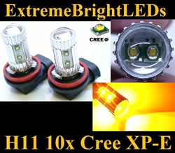 TWO Orange Amber 50W High Power H11 H8 H9 10x Cree XP-E LED Fog Driving DRL Lights