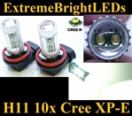 TWO Xenon HID WHITE 50W High Power H11 H8 H9 10x Cree XP-E LED Fog Driving DRL Lights