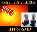 TWO Orange AMBER H11 H8 H9 68-SMD LED Fog Light Daytime Running Light Bulbs