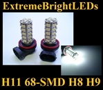 WHITE H11 H8 H9 68-SMD LED Fog Light Daytime Running Light Bulbs