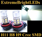 TWO Xenon HID WHITE H11 H8 H9 Cree Q5 + 12-SMD LED Fog Driving DRL Lights Bulbs
