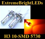 TWO Orange AMBER H3 10-SMD 5730 LED Driving or Fog Lamps Lights bulbs