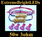 TWO 50W 3ohm Load Resistors Fix LED SMD Turn Signal Blinker Hyper Flash Error