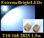WHITE T10 168 2825 194 1.5W High Power LED bulbs
