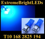 TWO BLUE T10 168 2825 15-SMD SMD LED bulbs