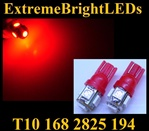 TWO RED T10 168 2825 15-SMD SMD LED bulbs