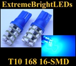 TWO BLUE T10 168 2825 16-SMD SMD LED bulbs