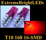 TWO RED T10 168 2825 16-SMD SMD LED bulbs