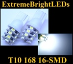 TWO WHITE T10 168 2825 16-SMD SMD LED bulbs