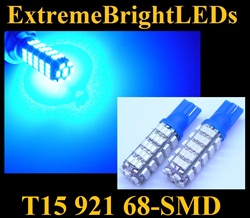 BLUE 68-SMD SMD LED T10 T15 168 2825 921 Parking Backup 360 degree High Power bulbs
