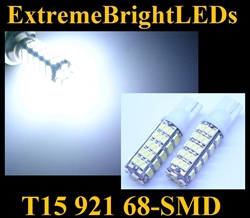 WHITE 68-SMD SMD LED T10 T15 168 2825 921 Parking Backup 360 degree High Power bulbs