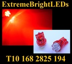RED 6-LED T10 T-10 194 168 158 12256 12961 2821 2825 W5W