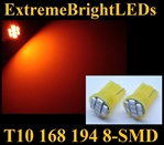 AMBER 8-SMD LED T10 168 2825 194 High Power bulbs