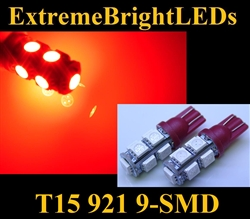 TWO Brilliant RED 9-SMD LED T10 T15 168 2825 921 3rd Brake High Mount Stop Lights 360 degree High Power bulbs
