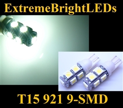 TWO Xenon HID WHITE 9-SMD LED T10 T15 168 2825 921 Parking Backup 360 degree High Power bulbs